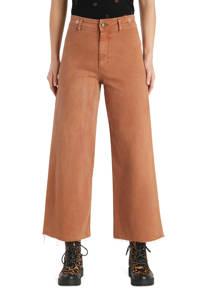 Desigual cropped high waist wide leg broek in roestbruin, Roestbruin