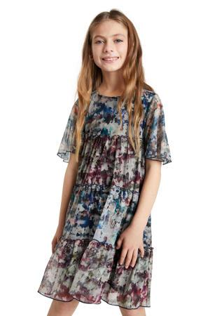 A-lijn jurk met all over print grijsblauw