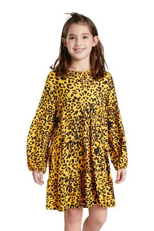 A-lijn jurk met all over print geel/zwart