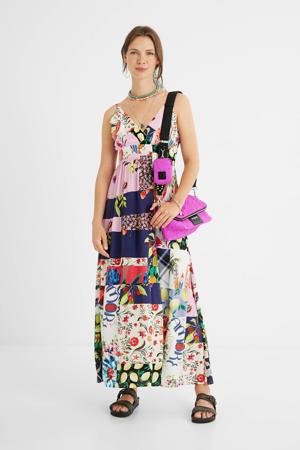 maxi A-lijn jurk met patchwork print en plooien multicolor