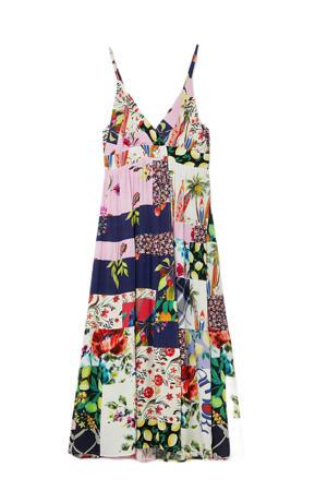 maxi A-lijn jurk met all over print en plooien multicolor