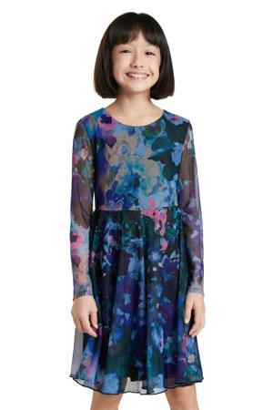 semi-transparante jurk met all over print groenblauw