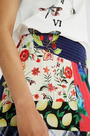 maxi rok met all over print en plooien multicolor