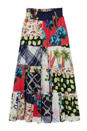 maxi rok met patchwork print en plooien multicolor