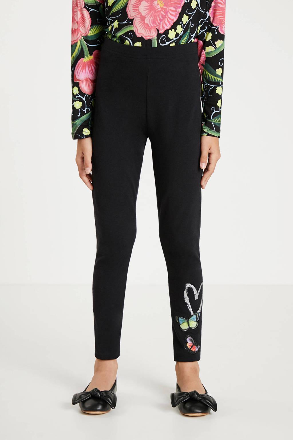 Desigual broek met printopdruk zwart, Zwart
