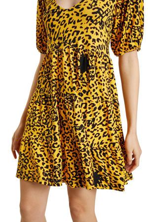 jurk met all over print en plooien geel/zwart