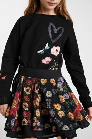 gebloemde rok zwart/multocolor