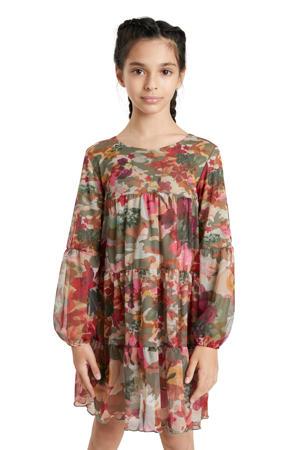 gebloemde semi-transparante A-lijn jurk kakigroen/roze