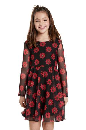 gebloemde semi-transparante A-lijn jurk zwart/rood