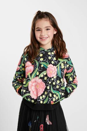 gebloemde hoodie zwart/groen/roze