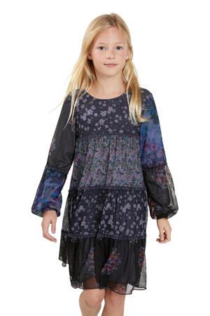 semi-transparante A-lijn jurk met all over print donkerblauw