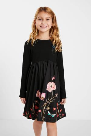 gebloemde A-lijn jurk zwart