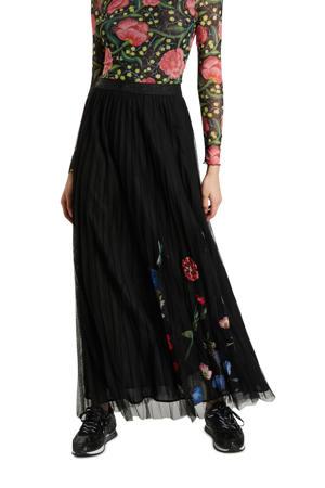 gebloemde semi-transparante rok zwart