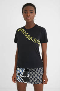 Desigual T-shirt met tekst en pailletten zwart, Zwart