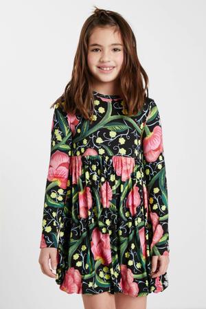 gebloemde A-lijn jurk zwart/groen/roze
