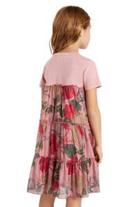 Desigual jurk met all over print en ruches roze, Roze