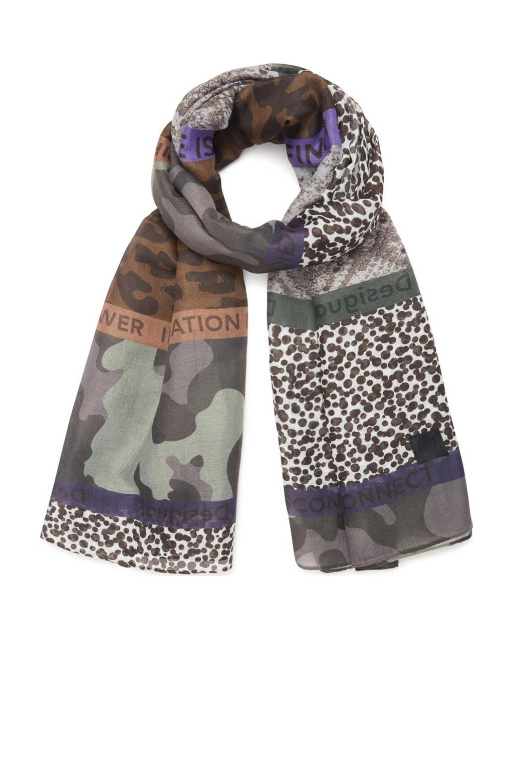 Desigual sjaal met all-over print kaki, Kaki