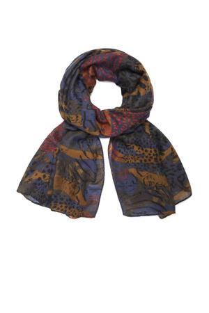 sjaal met dierenprint bruin/multi