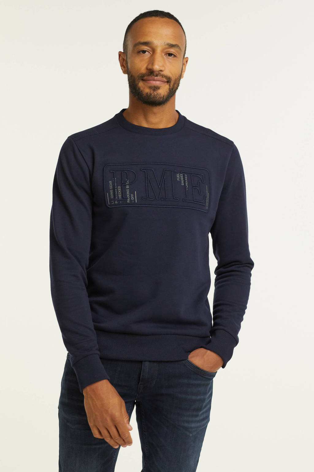 PME Legend sweater met logo donkerblauw, Donkerblauw