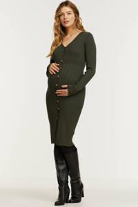 Supermom ribgebreide zwangerschaps- en voedingsjurk olijfgroen, Olijfgroen