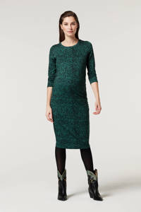 Supermom zwangerschapsjurk met all over print en plooien groen, Groen
