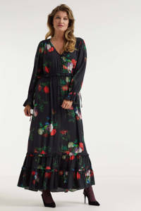 Miljuschka by Wehkamp limited edition maxi jurk  met bloemenprint, Zwart, Rood, Wit