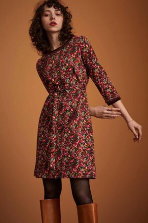 gebloemde A-lijn jurk Zoe  zwart/rood/groen