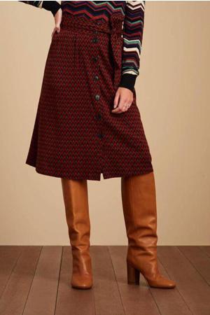 midi rok Lola Button Skirt Earl Grey met ceintuur roodbruin