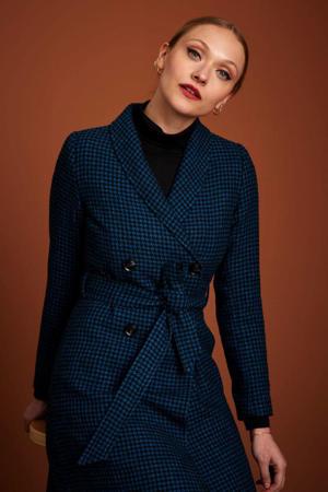 coat Kira Jubilee Check met all over print en ceintuur blauw