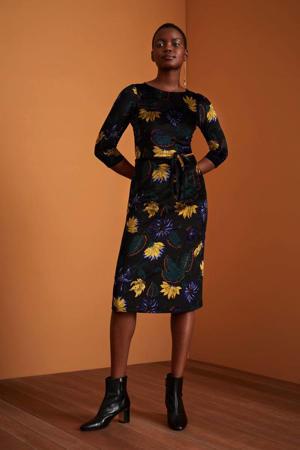 jurk Peggy Rhapsody met all over print en ceintuur zwart/multi