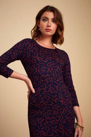 jurk Mona Sheppey met all over print blauw/rood