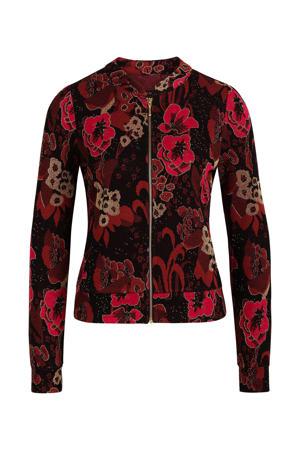 gebloemde jas Iris Bloomsbury zwart/rood