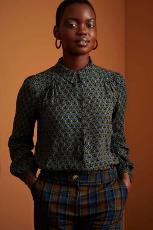 blouse Carina Muffin met all over print en plooien blauw/multi