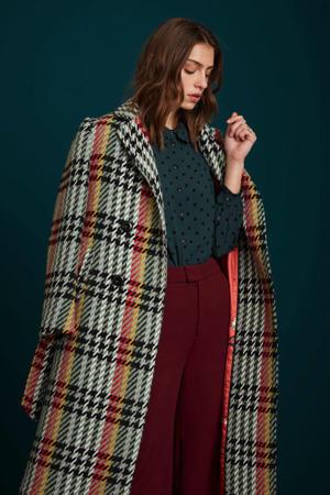 coat Robin  met pied-de-poule zwart/groen/rood