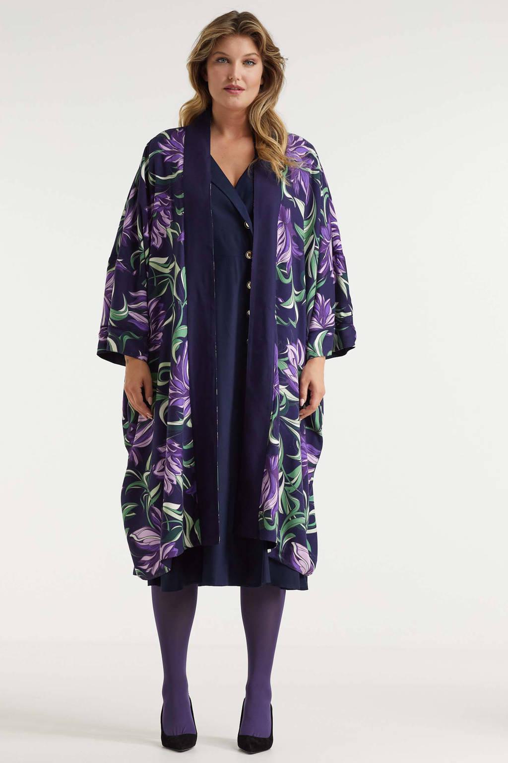Miljuschka by Wehkamp reversible kimono met underwater floral print, Paars, donkerblauw
