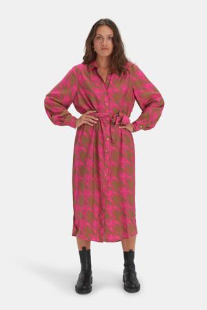 blousejurk Missy met pied-de-poule en ceintuur roze