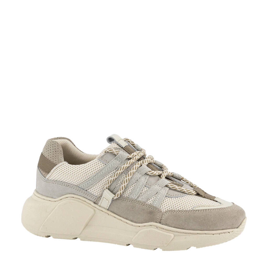 Oxmox   leren chunky sneakers taupe/beige, Taupe/beige