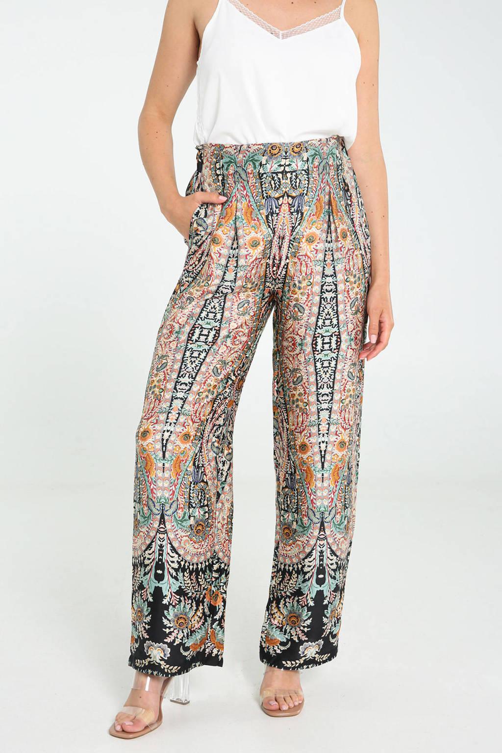 Cassis wide leg palazzo broek met all over print zwart/roze/blauw/oranje, Zwart/roze/blauw/oranje