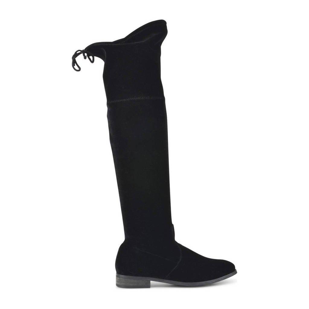 PS Poelman Kitty  overknee laarzen zwart, Zwart