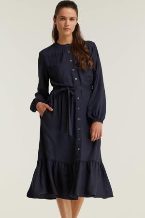 jurk met knoop koord blauw