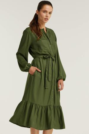 jurk met knoopsluiting kaki