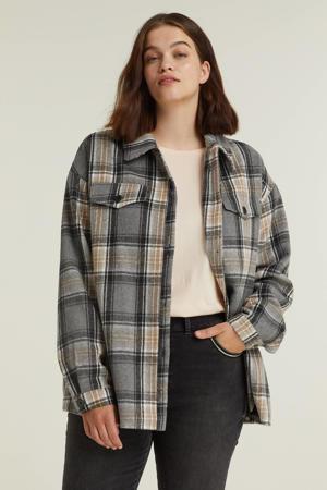 geruite blouse Rayaan grijs/beige/zwart