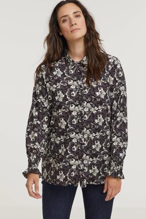 gebloemde blouse Maaike van travelstof zwart/grijs/ecru