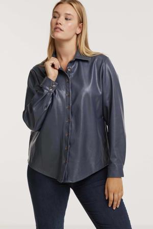 imitatieleren blouse Aaf violet