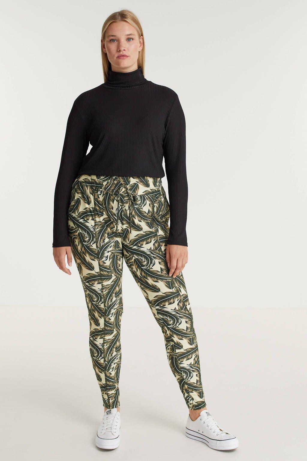 Exxcellent skinny broek Paris van travelstof met bladprint zand/gewassengroen, Zand/gewassengroen