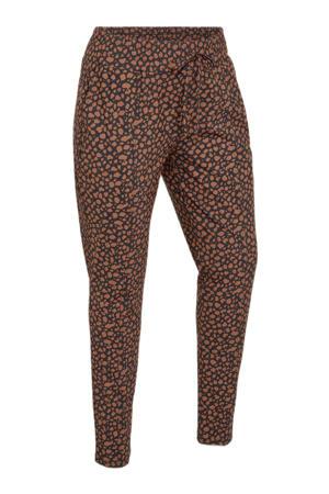 skinny broek Paris van travelstof zwart/cognac