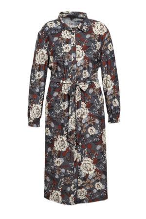 gebloemde blousejurk Perla van travelstof grijs/rood/ecru