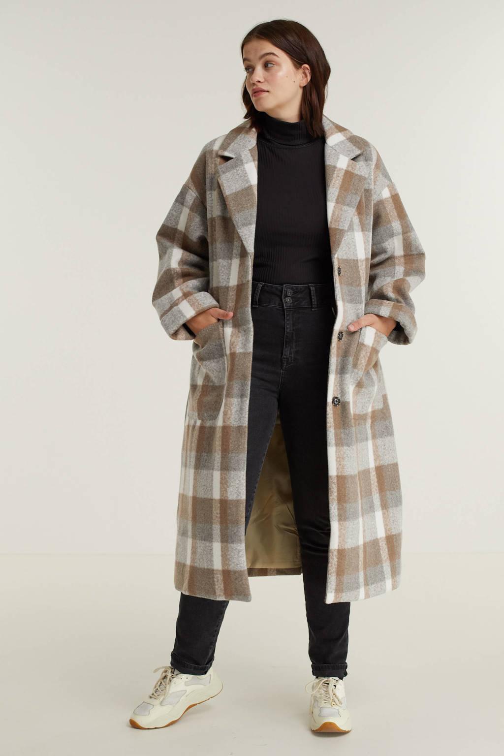 Exxcellent geruite  coat Pim bruin/grijs/ecru, Bruin/grijs/ecru