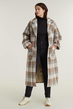 geruite  coat Pim bruin/grijs/ecru