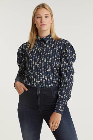 blouse Rafet van travelstof met all over print zwart/blauw/wit